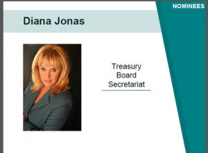i5 team member from Treasury Board member nominates Diana for award